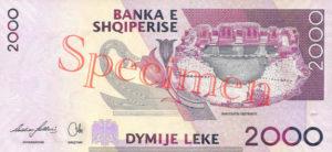 Billet 2000 Leke Albanie ALL verso