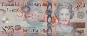 Billet 25 Dollar Iles Caïmans KYD 2010 recto