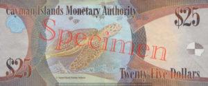 Billet 25 Dollar Iles Caïmans KYD 2010 verso