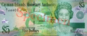 Billet 5 Dollar Iles Caïmans KYD 2010 recto