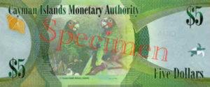 Billet 5 Dollar Iles Caïmans KYD 2010 verso