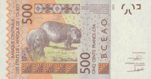 Billet 500 Francs CFA Afrique Ouest XOF 2018 verso