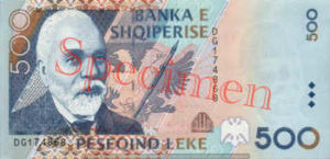 Billet 500 Leke Albanie ALL recto