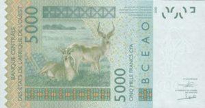 Billet 5000 Francs CFA Afrique Ouest XOF 2018 verso