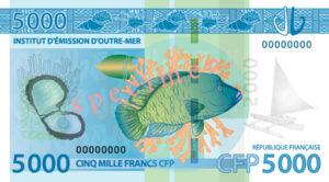 Billet 5000 Francs Pacifiques Polynésie Française XPF 2014 verso