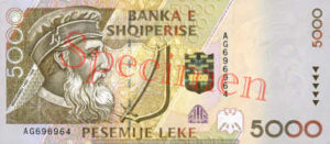 Billet 5000 Leke Albanie ALL recto