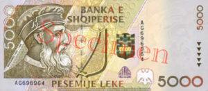 Billet 5000 Leke Albanie ALL recto