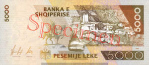 Billet 5000 Leke Albanie ALL verso