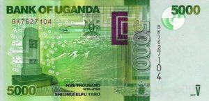 Billet 5000 Shillings Ouganda UGX recto