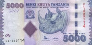 Billet 5000 Shillings Tanzanie TZS recto