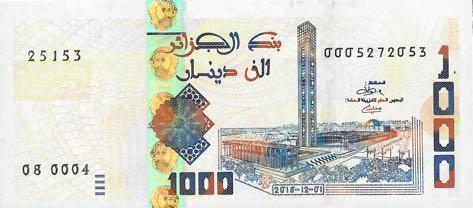 Billet 1000 Dinars Algériens DZD 2019 recto