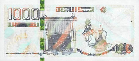 Billet 1000 Dinars Algériens DZD 2019 verso