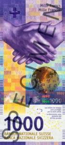 Billet 1000 Francs Suisses CHF 2019 recto