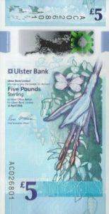 billet 5 livres irlande du nord uslter bank 2019 recto