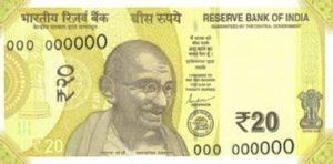 Billet 20 Roupies Indienne Inde INR 2019 recto
