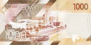 Billet 1000 Shillings Kenya KES 2019 verso