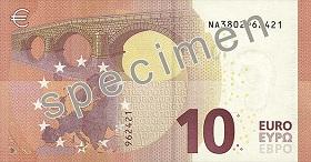 Billet 10 Euros Serie Europe 2019 verso
