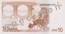 Billet 10 Euros verso