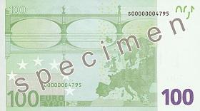Billet 100 Euros verso