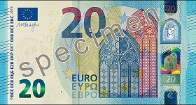 Billet 20 Euros Serie Europe 2019 recto