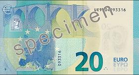 Billet 20 Euros Serie Europe 2019 verso