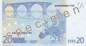 Billet 20 Euros verso