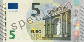 Billet 5 Euros Serie Europe 2019 recto