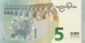 Billet 5 Euros Serie Europe 2019 verso