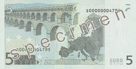 Billet 5 Euros verso