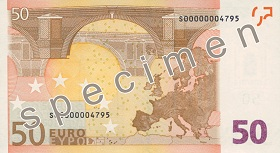 Billet 50 Euros verso