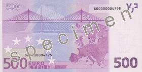 Billet 500 Euros verso