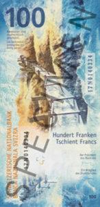 Billet 100 Francs Suisses CHF 2019 verso