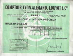 Bulletin d'Essai Comptoir Lyon Allemand Louyot & Cie