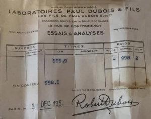 Bulletin d'Essai Laboratoire Paul Dubois & Fils