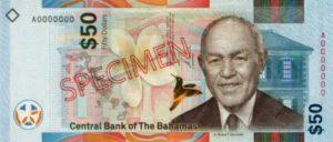 Billet 50 Dollar Bahamas BSD 2019 recto