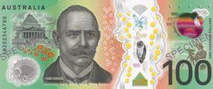 Billet 100 Dollars Australie AUD 2020 verso