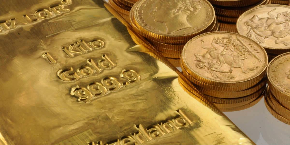lingot d'or et pièces d'or