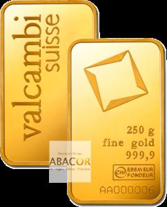 lingot or valcambi 250 grammes frappé