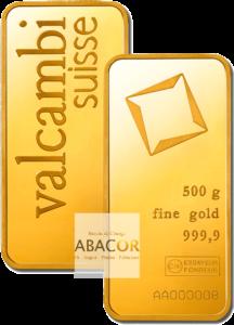 lingot or valcambi 500 grammes frappé